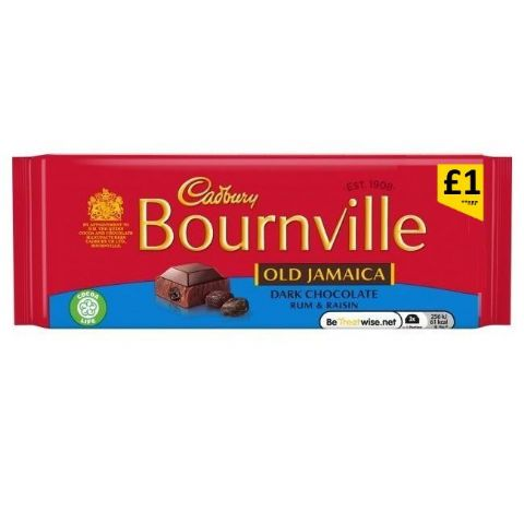 Old Jamaica Rum & Raisin Bournville Dark Chocolate Bar Cadbury 100g